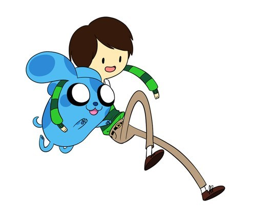 blues clues,adventure time,crossover,cartoons,Fan Art