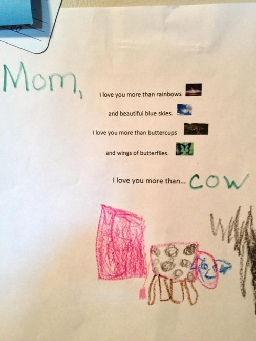 childrens-artwork,childrens-writing,cow