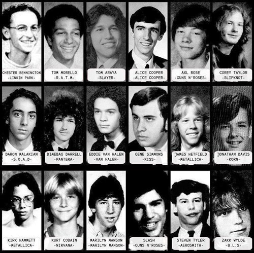 funny Gene Simmons high school KISS kurt cobain Music slash steven tyler van halen yearbook - 6621793024