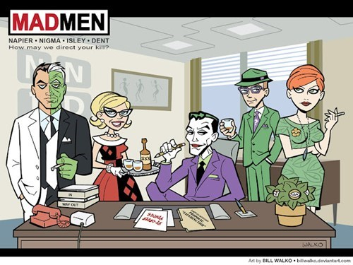 batman,Fan Art,gotham city,Harley Quinn,mad men,mash up,poison ivy,the joker,the riddler,two face