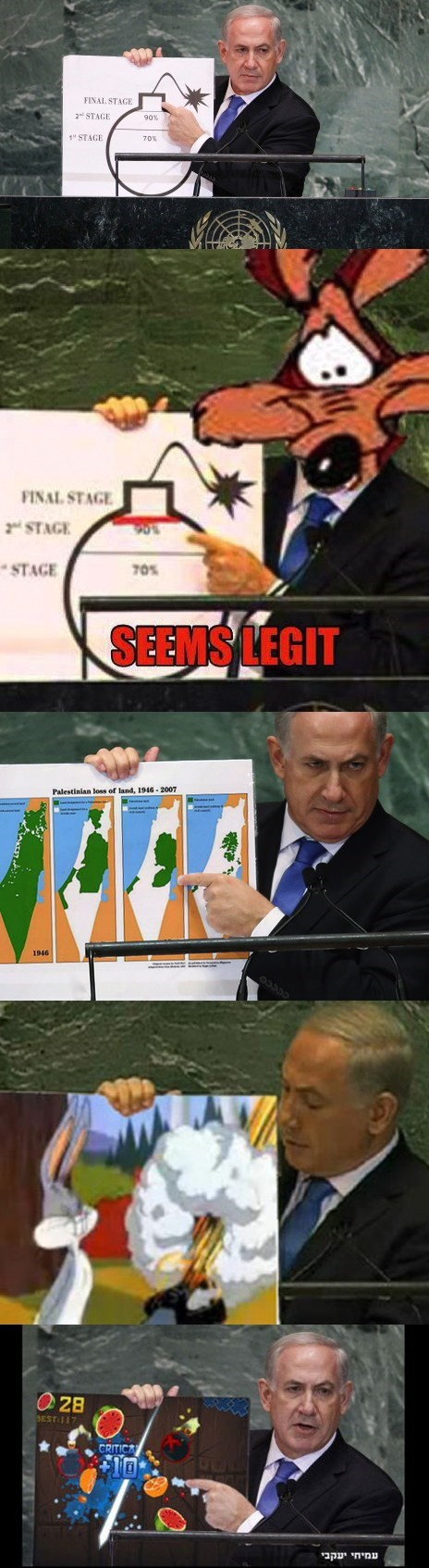 benjamin netanyahu bomb fruit ninja internet looney tunes photoshop - 6621966080