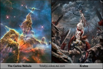 carina nebula,funny,god of war,kratos,space,TLL