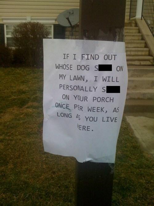 harsh sign warning pets
