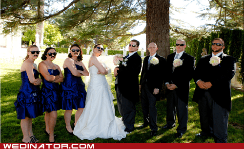 mustaches,bridal party