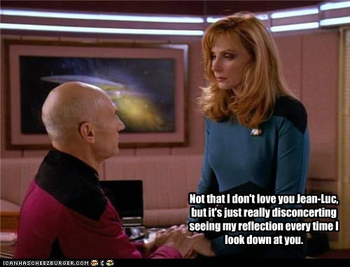 gates mcfadden,bald,Captain Picard,reflection,disconcerting,the next generation,Star Trek,patrick stewart,beverly crusher