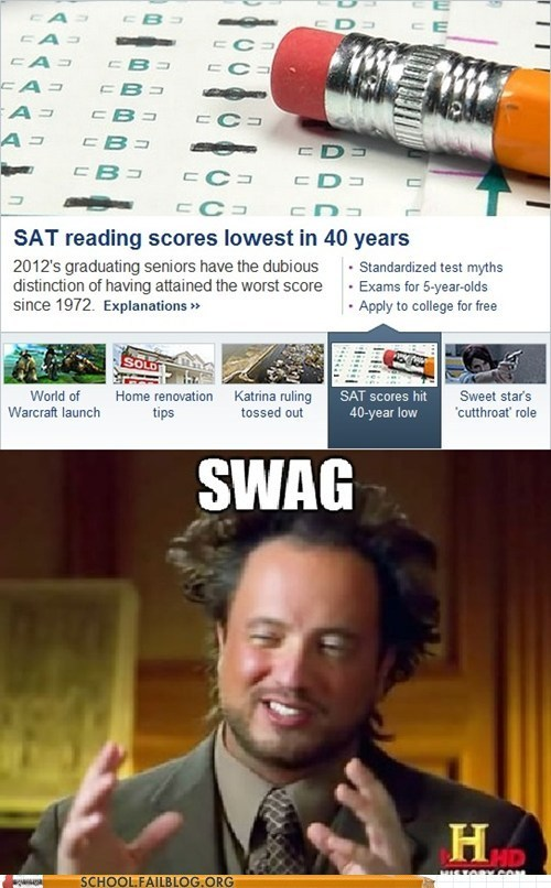 Aliens,kids these days,lowest scores,SAT scores,swag