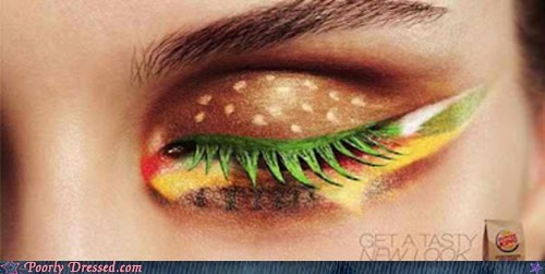 burger king,cheeseburgers,eyes,hamburgers,makeup,mascara