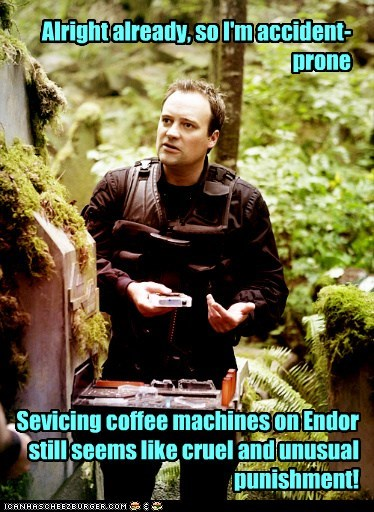 wraith,endor,accident,rodney mckay,stargate atlantis,coffee machines,punishment,david hewlett,Stargate