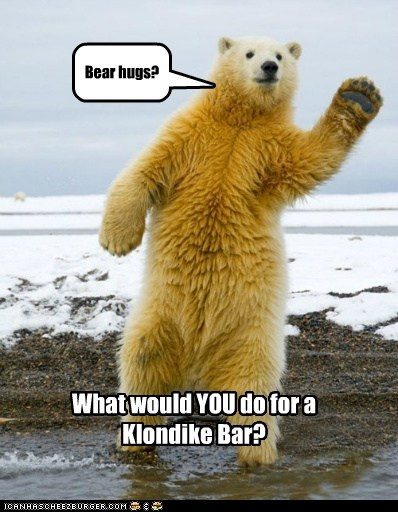 polar bear,bear hug,what would you do for a klondike bar,literal