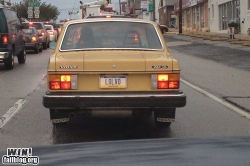 license plate pun cars lol volvo