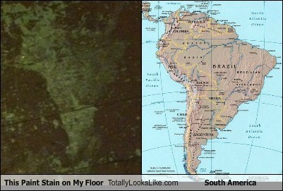 continent,funny,geography,paint stain,south america,TLL