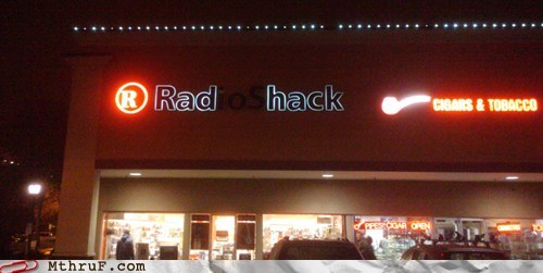 radio shack,rad hack,neon sign