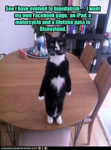 See I have evolved to bipedalism . . . I want my own Facebook page, an iPad, a motorcycle and a lifetime pass to Disneyland.