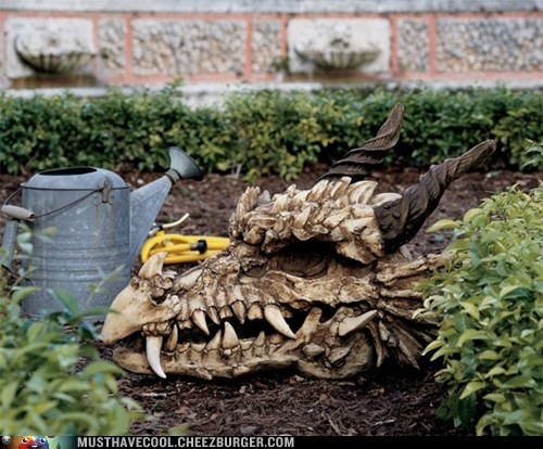skull dragon statue fake garden decor home