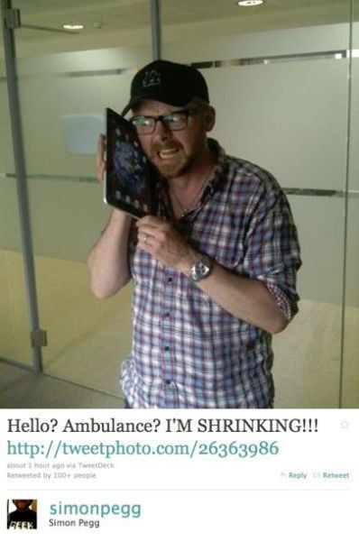 ambulance,ipad,shrinking,Simon Pegg,tweet,twitter