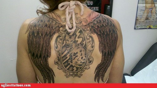 back tattoos,cat,wings