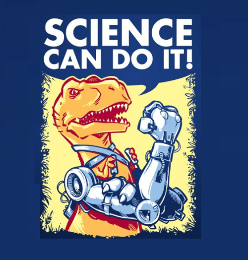 dinosaurs,robots,science,science can do it