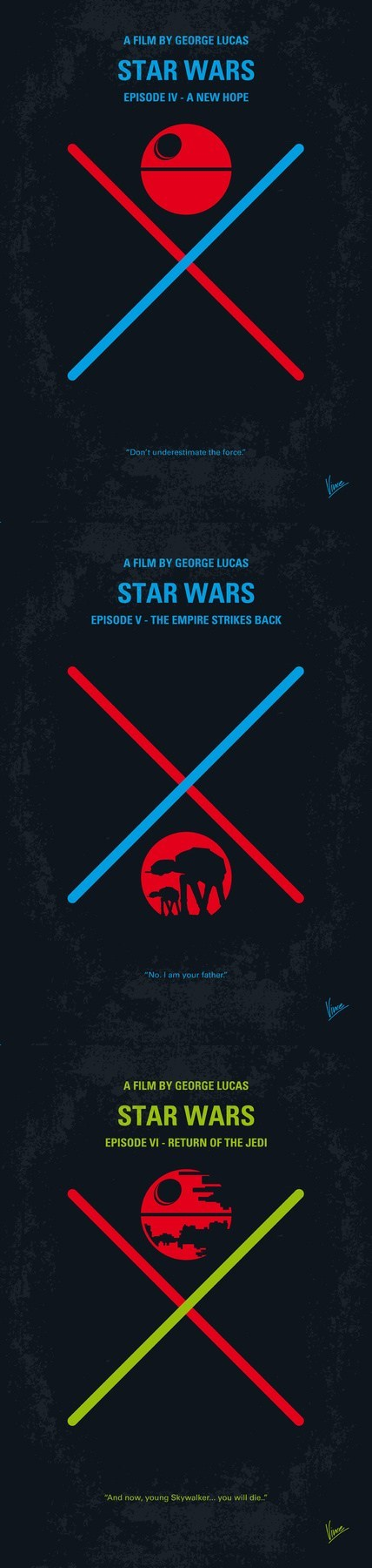 A New Hope Empire Strikes Back minimalism posters return of the jedi star wars trilogy