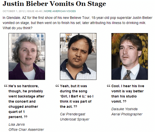 justin bieber,the onion,vomit