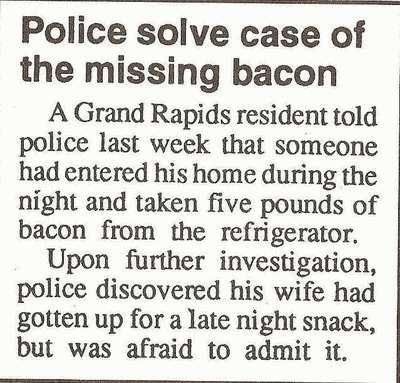 bacon,completely relevant news,food,news,police