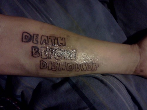 arm tattoos,death before dishonor