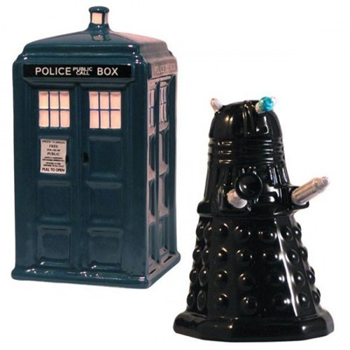 dalek,doctor who,pepper,salt,salt and pepper,seasoning,shakers,tardis