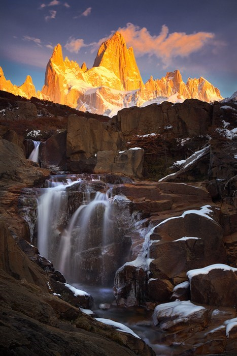 argentina,landscape,mountains,patagonia,waterfall