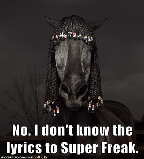 No. I don't know the lyrics to Super Freak.