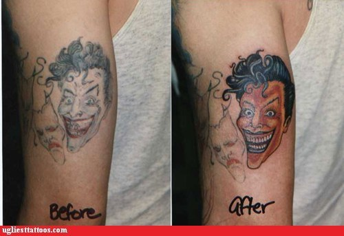 arm tattoos,batman,the joker