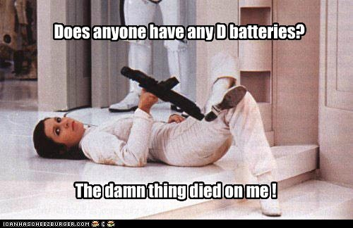 disappointed star wars d batteries vibrator died blaster carrie fisher Princess Leia