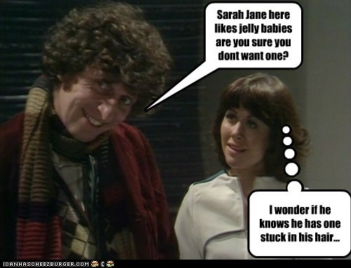 hair,jelly babies,stuck,the doctor,Elisabeth Sladen,doctor who,sarah jane smith,tom baker