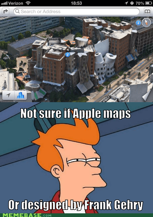 apple,architecture,boston,frank gehry,fry,iOS6 maps,Maps