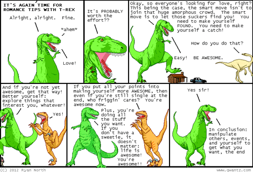 be awesome,dating advice,dinosaur comics,romance tips,t rex