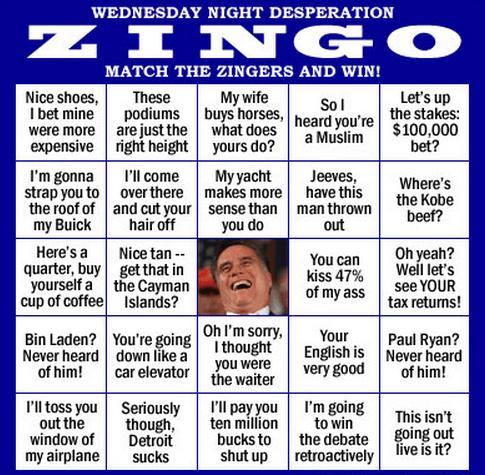 bingo game Mitt Romney presidential debate zing - 6631877888