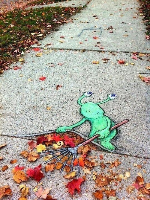 classic,fall,hacked irl,leaves,raking,Street Art
