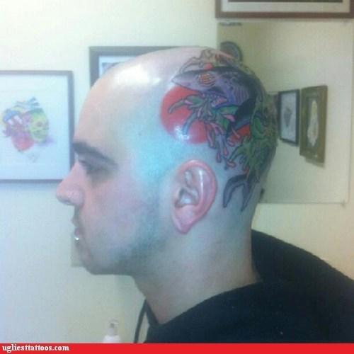 head tattoos,sharks