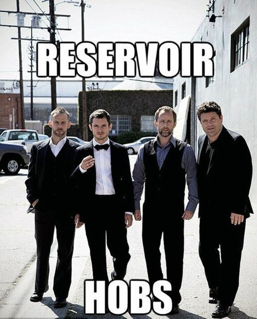 billy boyd dominic monaghan elijah wood hobbits Lord of the Rings posing Reservoir Dogs reunion sean astin suits