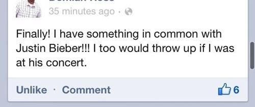 facebook,justin bieber,vomit
