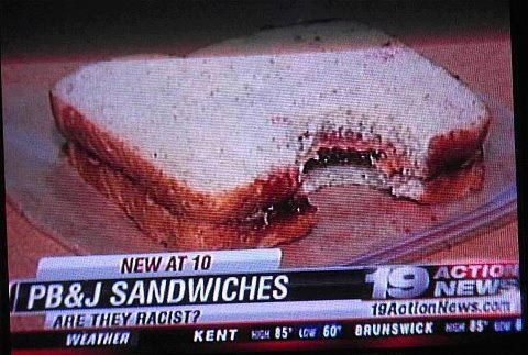 news,peanut butter and jelly,racist,sandwiches,slow news day