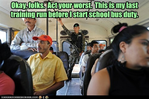 news,armed,kids,soldier,school bus,training,worst,dangerous,bus