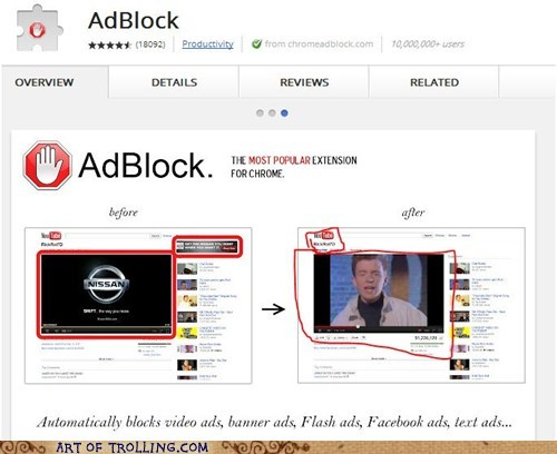 adblock,rick roll,chrome