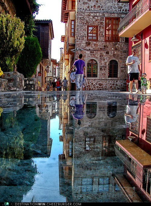 stone,mirror,reflection,cityscape