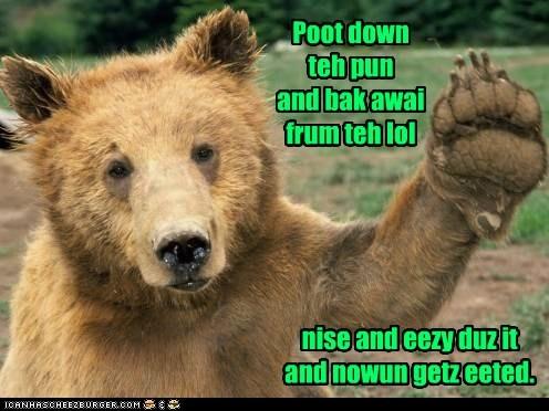 warning pun bear lol eating stop - 6635346432