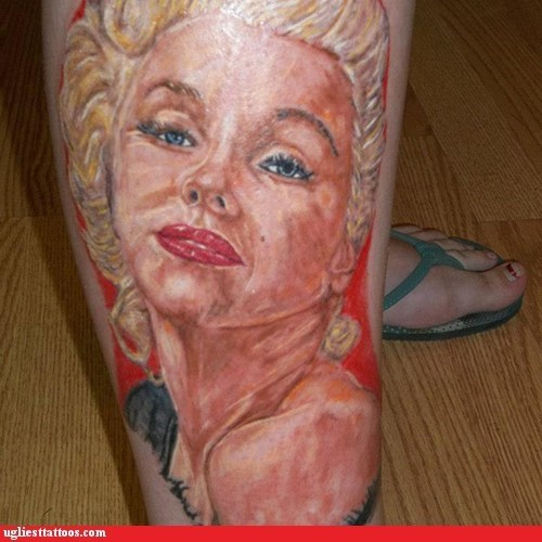 leg tattoos,marilyn monroe