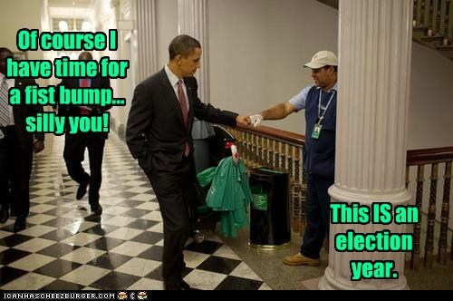 barack obama,photo op,publicity stunt,fist bump,janitor,of course,election year