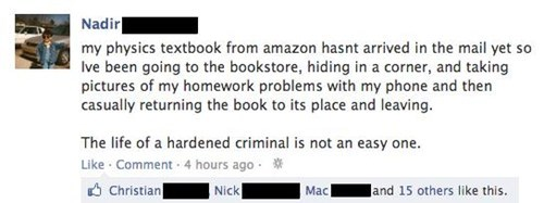 bookstore,hardened criminal,out of control,textbooks
