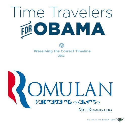 barack obama campaign ads Mitt Romney romulans science fiction Star Trek time travelers