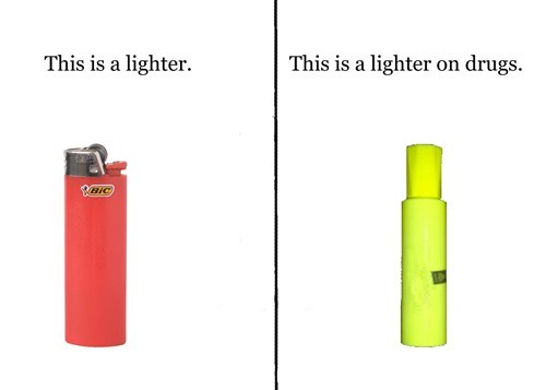 double meaning,drugs,high,highlighter,lighter,literalism,prefix