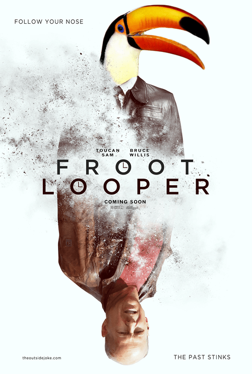 bruce willis,cereal,froot loops,fruit loops,juxtaposition,looper,Movie,shoop,toucan sam