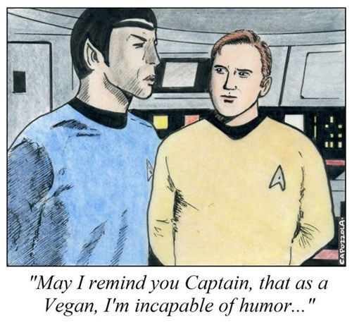 Captain Kirk,cartoons,comic,humor,incapable,Spock,Star Trek,vegan,Vulcan